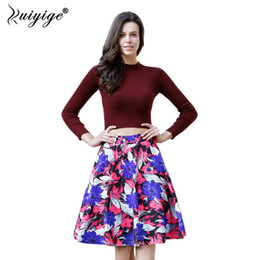 Wholesale High Empire Waist Evening Gowns - Ruiyige High Waist Mini Pleated Skirt Summer Floral Print Zipper Plus Size Boho Saia Retro Beach Evening Ball Gown Femme Faldas