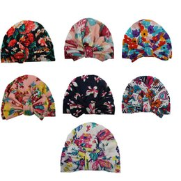 infant bunny hat Promo Codes - Baby Hats Floral Print Bunny Ear Caps Ears Cover Hat Europe Style Turban Knot Head Wraps Infant Kids India Hats Beanie