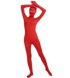 Deutschland (SWO002) Red Spandex Full Body Haut Enge Unisex Zentai Anzug Body Kostüm Frauen Ganzanzug Lycra Augen Offenen Overall supplier red full body tights Versorgung