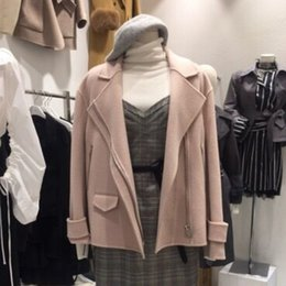 Шерстяные пальто розовые онлайн-Korean Women Autumn Vogue Pink Coats 2018 New Winter Casual Jackets Female Long Sleeve Woolen Ladies Windbreaker Chaquetas Mujer