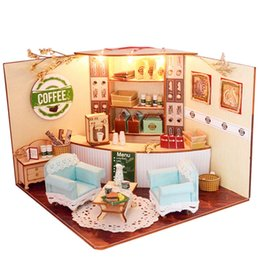 Wholesale Dollhouse Miniature Led Lights - Wholesale- New Sweet Home Colombian Coffee House Room DIY Dollhouse Kit With LED Light Wood Miniature Dollhouse toys Decor Gift