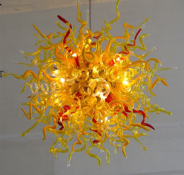 100% Hand Made Blown Glass Chandelier Red And Yellow Color Art Glass Modern Ceiling Decorative LED Light Source Fancy Chandelier Discount Pendant