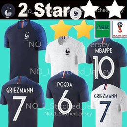 Wholesale cup shirts - POGBA #6 MBAPPE #10 GRIEZMANN #7 soccer jerseys World Cup Soccer Jersey 2 Stars football shirt THAUVIN #18 DEMBELE #11 Uniform Team