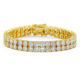 2020 cadenas de diamantes simulados 2018 18 K chapado en oro de los hombres del encanto simulado diamante Miami Pulseras cubanas Iced Out Bling Rhinestone cadenas de Hip Hop joyería para hombre jewerly KKA1968 rebajas cadenas de diamantes simulados