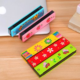 Wholesale Toy Harmonicas - 1Pcs 16 Holes Harmonica Kids Toys Musical Instrument Educational Toy Colorful Wooden Cover Harmonica Wind Instrument New