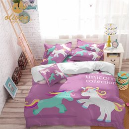 Couverture de ligne violette en Ligne-Ensemble de literie pour fille violet housse de couette Licorne pour enfants concepteur coloré ligne de lit imprimé arc-en-ciel chambre d'enfants AU / US / RU