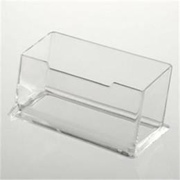 Wholesale Office Desk Styles - 1pcs Storage Card Holder Desk Shelf Box Boxes New Clear Display Stand Acrylic Plastic Desktop Business