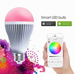 Wholesale Apple Mini Computer - High Bright RGB Wireless Bluetooth Smart LED Light Bulb E27 9W RGBW Bulb for Android and for iOS AC85-265V