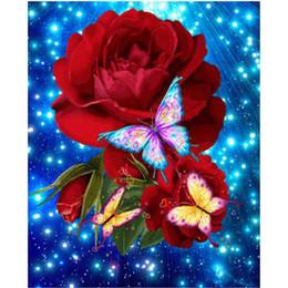 Wholesale 3d Rose Flower Fabric - NEW DIY Full Diamond Embroidery flower 5D Diamond Painting Cross Stitch rose 3D Diamond Mosaic butterfly Needlework Crafts,Gift