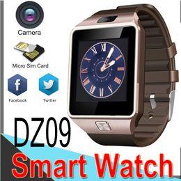 teléfono celular inteligente reloj bluetooth Rebajas DZ09 Relojes con reloj inteligente con Bluetooth para Android iPhone 9 Teléfono celular Samsung Smart con marcación de cámara respuesta de llamada Podómetro E09 50 paquetes