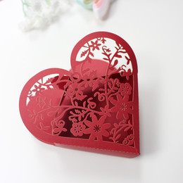 Wholesale Cheap Candy Paper Box - Cheap red favor boxes party gift boxes flower laser country wedding favor candy boxes shining paper decoration
