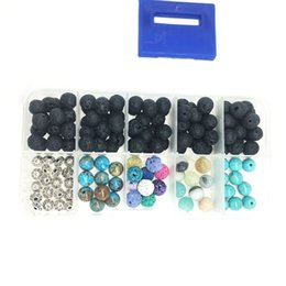 Wholesale Loose Beads For Sale - Hot Sale Energy Stone + Assorted Gemstone Round Loose Beads Lava Stone Rock Beads for Jewelry Making 160 pcs Free DHL D811Q