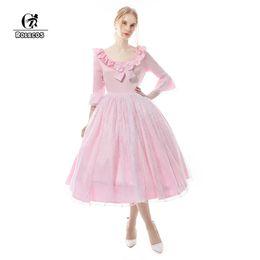0ba9105ef37 ROLECOS Sweet Lolita Dress Pink Lace Black Satin Vintange Royal Court Dress  Medieval Renaissance Victorian Ball Gown victorian lace lolita on sale
