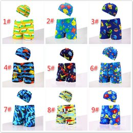 Wholesale boys kids trunk swimming - Baby Boys Animal Printed Swim Trunks Sets with Swim Hat 2018 Summer Children Cartoon Swim Trunks Boy Swimwear Kids Board Shorts M111