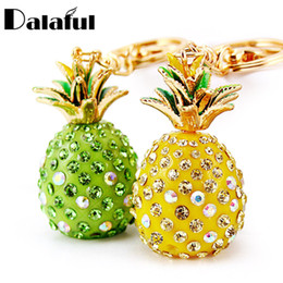 green fruit bags Promo Codes - New Fashion Tropical Fruit Pineapple Crystal Keychains Purse Bag Pendant For Car Keyrings High-grade Gift key chains holder K231