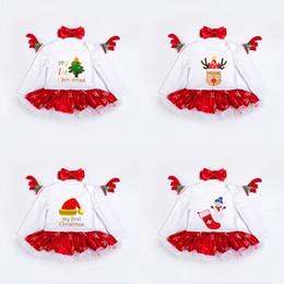 Girls lace dress socks on-line-Novas Meninas Vestido De Natal com Romper Hairband Saia Algodão Lace Borda Meias Árvore Deer Impresso 0-24 M de Manga Comprida