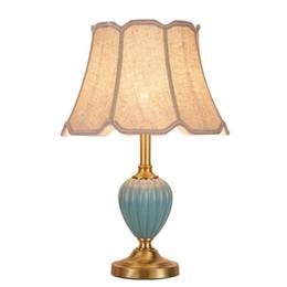 Wholesale copper desk - New classical table Lamp desk Copper ceramic lamp for Bedroom living room bedside home lighting E27 modern gold luxury art light