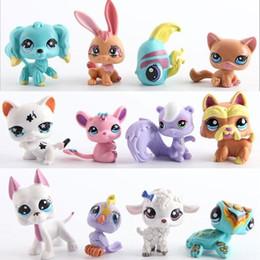 Comprar figuras de ação on-line-Eco-Friendly 12 pçs / set Figuras de Ação Brinquedos Little Pet Shop Mini Toy Animal Cat Dog Pet Coleção Figuras de Ação Brinquedos Infantis Presentes para Crianças
