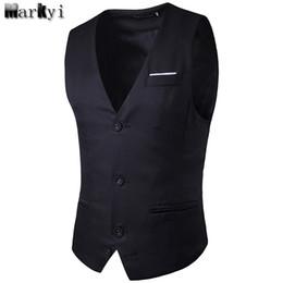Wholesale Men S Gray Dress Vests - MarKyi 2017 new pocket dress vests for men EU size S- 2XL sleeveless mens suit vest fashion mens classic vest