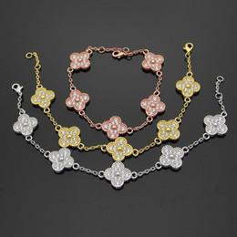 2019 popular women s jewelry brands Edelstahl Blume voller Diamant Armband 5 Blumen vier-Blatt Blume Damen Armband Gypsophila paniculata Liebe Armband für Woma