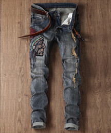 Wholesale cool designer jeans - Men Distressed Ripped Jeans Fashion Designer Straight Motorcycle Biker Jeans Causal Denim Pants Streetwear Style Mens Jeans Cool Size 28-38