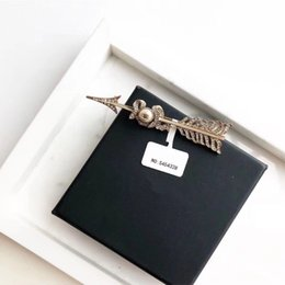 Wholesale Brooch Boxes - Double C cc home Number 5 Arrowhead Brooch Women's Dangle Luxury C Brand for Women Anniversary Gift Wedding Jewelry for Bride with box