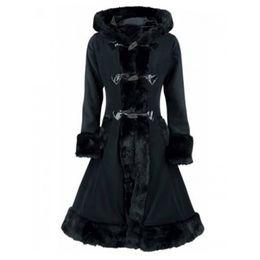 Langer schwarzer mantel gotisch online-Kinikiss Frauen Pelz Kapuzenmäntel Winter Warme Elegante Hornknopf Trenchcoat Lady Lace Up Schwarz Gothic Vintage Lange Mäntel