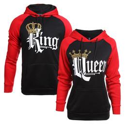 Тонкий черный пояс онлайн-Король королева пара одежда женщины мужчины с длинным рукавом красный черный пальто Письмо печати любовник тонкий флис с капюшоном свитер с карманом галстук