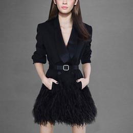 2019 chaquetas de un solo botón para mujer 2018 Moda elegante Bussiness Lady diseño sólido negro chaqueta larga con un solo botón muesca delgada chaqueta Patchwork Blazers chaqueta rebajas chaquetas de un solo botón para mujer