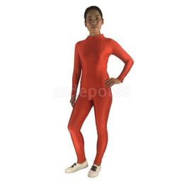 Wholesale Dancing Bodysuit Costume - Adult Spandex Bodysuit Catsuit Dance Costume Stretchy Unitard Red Black S-3XL