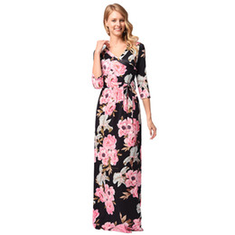 Wholesale casual maxi dresses for girls - 2018 spring and summer new Fashion women's printed Flora Long Dress For Girl Party Dinner Beach Maxi Casual dress