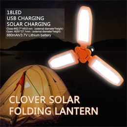 Discount hanging garden lantern - Portable Outdoor Tent Solar Lantern 3 Winged 18 LED Trifolium Foldable Hanging Type LED Outdoor Hiking Camping Lamp