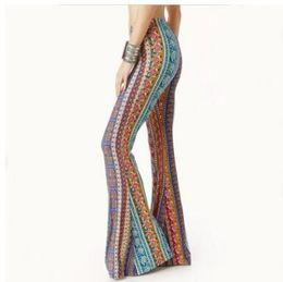 Wholesale aztec xl - American Clothing Tribal Vertical Aztec print Bell Bottom Legging Soft Women Flare pant Wide leg Printed Legging 2018
