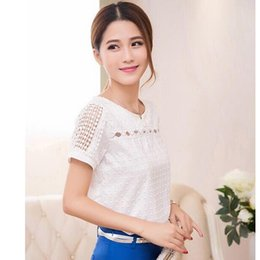 Wholesale Puff Sleeve Lace Top - Women White Chiffon Lace Shirt Blouse Femme Fashion Casual Short Sleeve Shirts Tops Blusas Feminina Hollow Out Blouses