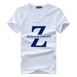 Wholesale lycra shirts wholesale - Homme T-Shirt Believe in yourself Letter Printing Men Summer V-neck Basic Short T Shirt Casual Tee Size S-5XL