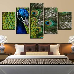 Wholesale peacock oil painting modern - HD Printed Decoration 5 Panel Peacock Animal Modern Painting On Canvas Home Living Room Wall Artwork Pictures Posters Framework