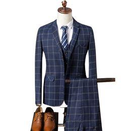 Корейские мужские костюмы онлайн-2017 New Arrival  Plaid Mens Suits Designs Korean Version Comfortable Male Blazer With Pants Fashion Man Suit Set 3 Pieces
