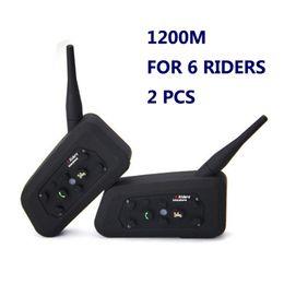 Wholesale Pc Walkie Talkie - Vnetphone 2 PCS Motorcycle BT Intercom V6 Helmet Intercom 6 Riders 1200M walkie talkie Helmet BT Interphone