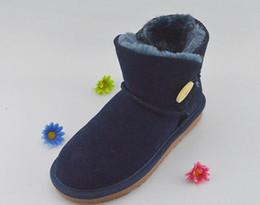 Boton rojo boton rojo online-Botin de botones Botas de rodilla clsicas Botas de tobillo de invierno Negro Gris caqui Azul marino Rojo Bowknot Girl Fashion Shoes