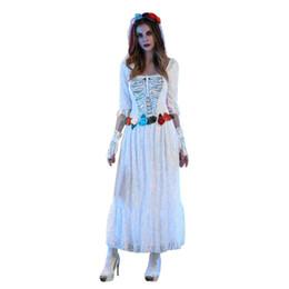 Venta caliente de las mujeres sexy blanco encaje cadáver vestido de novia Halloween Cosplay Party Scary disfraces accesorio envío rápido Droping Ship l816 desde fabricantes