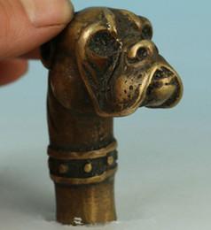 Estatuas antiguas online-Cabeza de caña tallada a mano de bronce antiguo chino estatua de perro