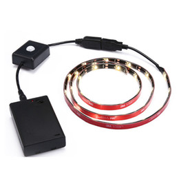Wholesale Motion Sensor Battery Powered - Led Strip Rope Light Kit 1M 30 LED Battery Powered with PIR Auto Sensor Motion for Kitchen Bed Closet Cabinet Stair Hallway Washroom