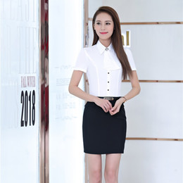 Wholesale Women Two Piece Formal Set - Summer Formal Women Business Suits with Two Piece Skirt and Top Sets Office Ladies White Blouses & Shirts Short Sleeve
