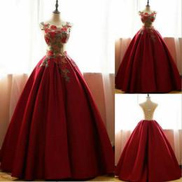 Aline robes de soirée en Ligne-2018 robes de soirée, robes de bal longues rouge, robes de quinceanera rouge, satin floral Aline longue robe de bal appliques de bal CK323