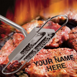 Wholesale fire barbecue - BBQ Barbecue Branding Iron Tools With Changeable 55 Letters Fire Branded Imprint Alphabet Aluminum Outdoor Cooking For Grilling Steak Meat