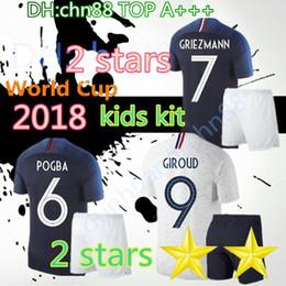 New 2 stars 2018 world cup GRIEZMANN kids POGBA MBAPPE Thai Soccer jerseys  18 19 MARTIAL KANTE DEMBELE Maillot de foot kids football shirts 13246d914