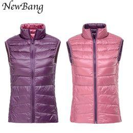 Wholesale Reversible Down Jacket - NewBang Women's Warm Vests Ultra Light Down Vest Double Side Sleeveless Jacket Gilet Reversible Gilet Plus Size With Carry Bag