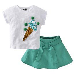 Bébé Enfants Summer boutique de vêtements pour enfants Filles Jupe Set Ice Cream Pattern T-Shirt Jupe Enfants Set 2062 ? partir de fabricateur