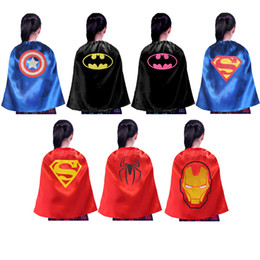 55*70cm One Layer Kids Superhero Capes Satin Capes and Felt Mask Cosplay Capes with Mask Holiday Party Favor Gift Kids Clothes