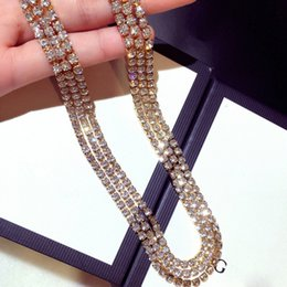 Wholesale white gold figaro necklace - 90cm Hip-hop tennis chain necklace with aaa cz paved for men jewelry with white gold plated long chain tennis necklace Women's jewelry
